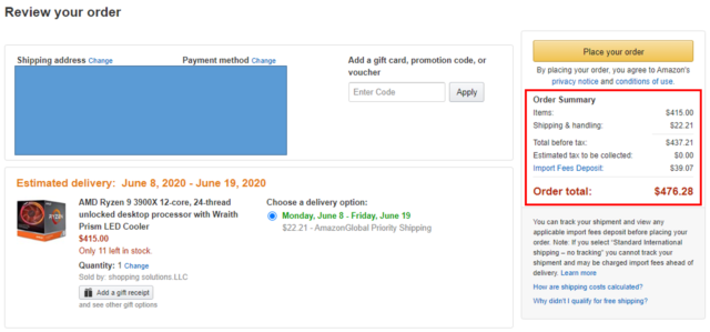 Amazon.com_PLACE ORDER_CPU_Ryzen9_3900X