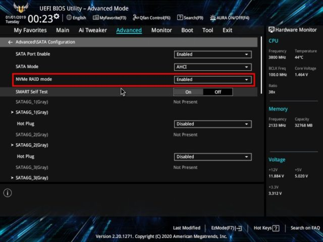 BIOS(UEFI)_Advanced>NVMe RAID mode