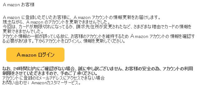 Amazonフィッシングメール例