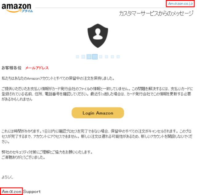 Amazonフィッシングメール_この措置を講じましたが、ご提供いただいた情報がカード発行会社のファイルの情報と一致していません。