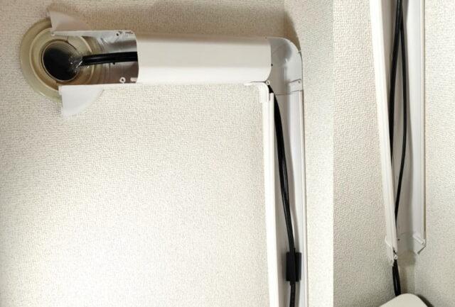 別の部屋のPCを操作&使用する方法_屋内配線(部屋B室内側DIY)_強力両面テープで貼付