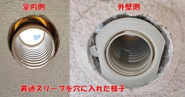 別の部屋のPCを操作&使用する方法_屋外配線(外壁側DIY)貫通スリーブセットを穴に入れたイメージ