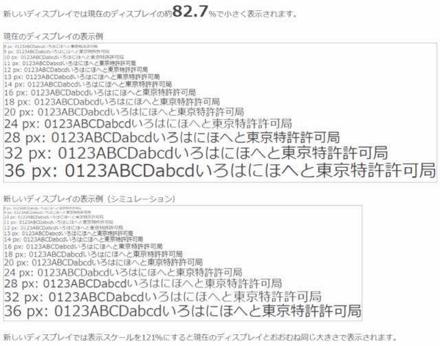 現在のモニターと新しいモニターの文字サイズをシュミレーション_結果画面