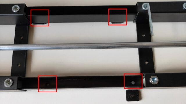 FLEXISPOT手動式スタンディングデスクH2&丸角天板_天板を桁に取付