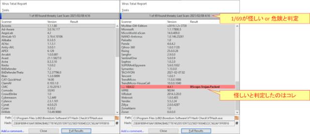 VT Hash Check_右クリックからファイルのハッシュをVirusTotalでチェックした結果