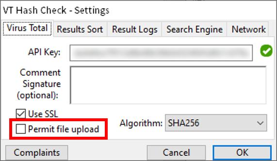 VT Hash Check_実行後、API key導入04