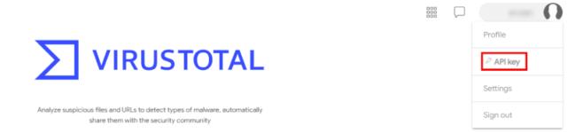 VirusTotal(ウイルストータル)_Sign In後、API keyを取得01