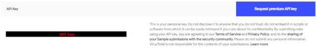 VirusTotal(ウイルストータル)_Sign In後、API keyを取得02