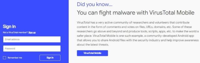 VirusTotal(ウイルストータル)_Sign In