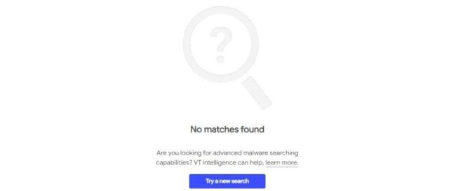 VirusTotalハッシュ検索_No matches found_一致するものが見つからないときの表示