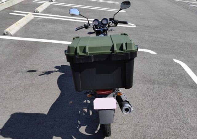 バイクのホムセン箱選び+取り付け&固定方法_ホムセン箱取付後のイメージ