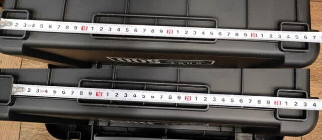 バイクのホムセン箱選び+取り付け&固定方法_JEJアステージ 収納ボックスシャット500X_底面サイズ計測01