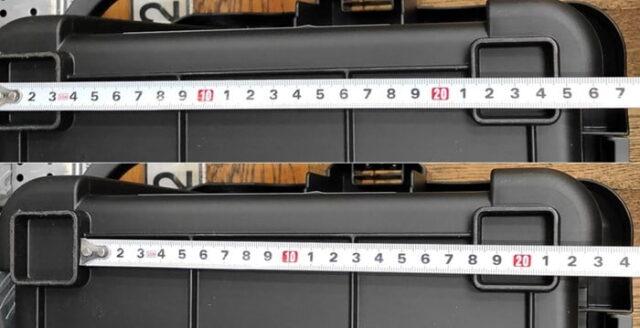 バイクのホムセン箱選び+取り付け&固定方法_JEJアステージ 収納ボックスシャット500X_底面サイズ計測02