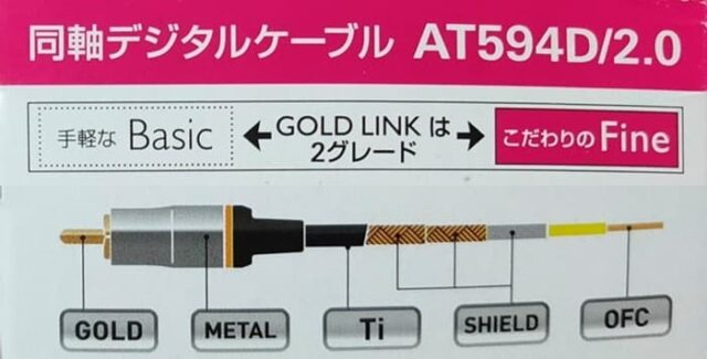 オーディオテクニカ_同軸デジタルケーブルAT594D_こだわりのFine GOLD LINK