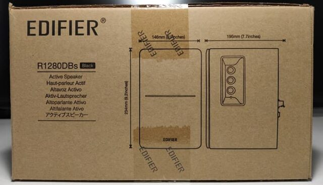 Edifier R1280DBsレビュー_外箱横にはスピーカーのサイズ